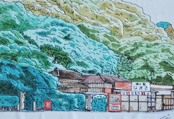 海の家だった頃の渚。お客さんが描いてくれたイラストしか残っていない