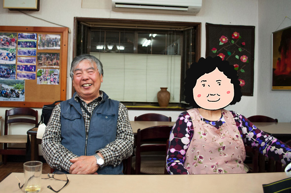 渡辺さんご夫婦。今年で結婚45年目。女将さんは「名前も写真も絶対だめ!」とのことだったので似顔絵で