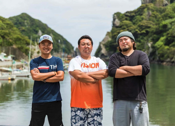 南崎漁師倶楽部メンバー:左から平山文敏さん、鈴木萌さん、平山善太郎さん